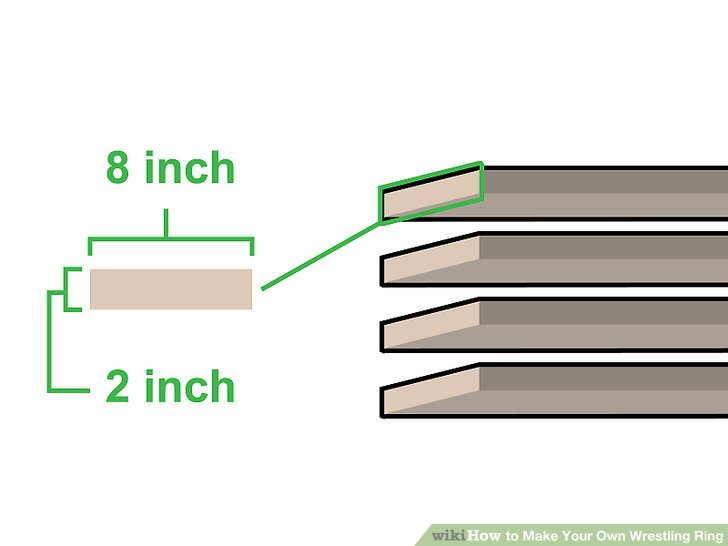 Buy four 2 inch (5.1 cm) tall by 8 inch (20 cm) wide pieces of wood.