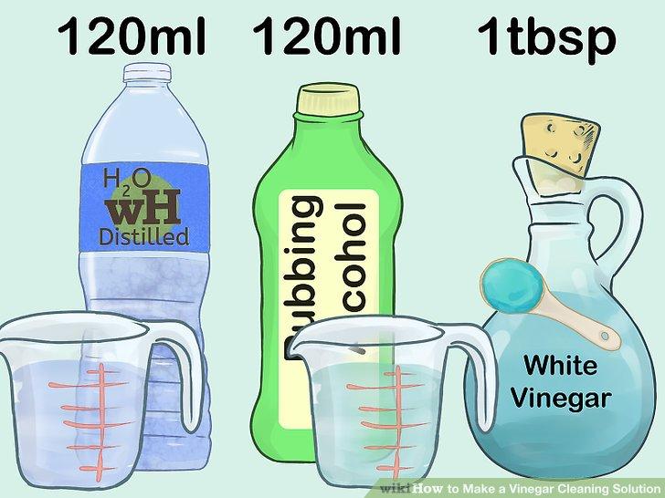 Mischen Sie Essig, Alkohol und Wasser zu einem Glasreiniger.