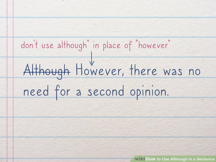 How to Use Although in a Sentence: 7 Steps - wikiHow