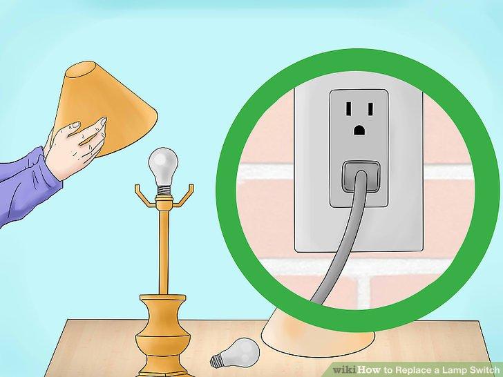 Ersetzen Sie die Glühlampe und den Lampenschirm und schließen Sie die Lampe an.