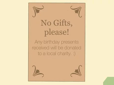 request no gifts at a birthday party