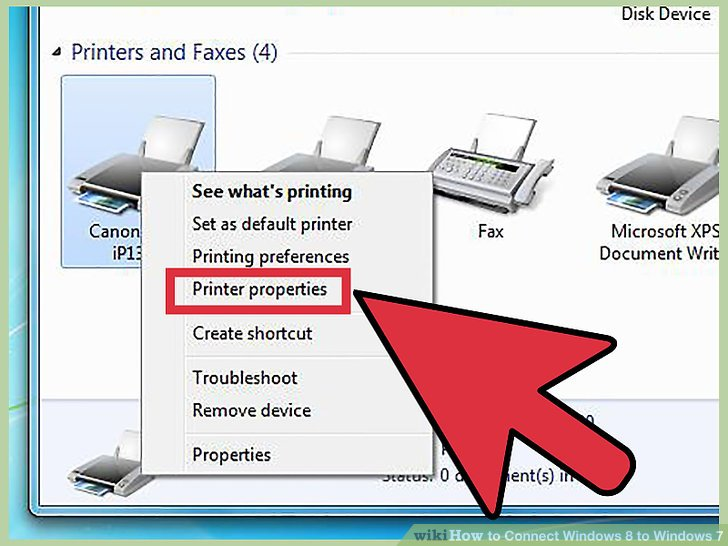 "Right-click on the printer you want to share and select ""Printer properties""."