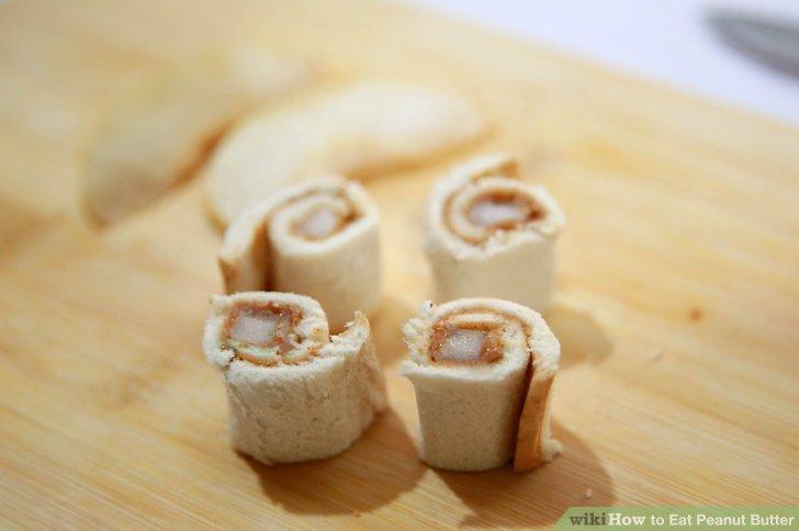 """Erdnussbutter und Obst """"Sushi""""."""