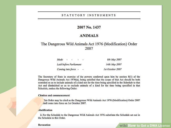 Finden Sie Ihr Tier in The Dangerous Wild Animals Act 1976 (Modification) Order 2007.