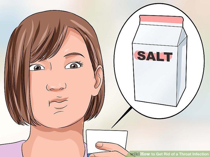 Gargle salt water to soothe throat pain.