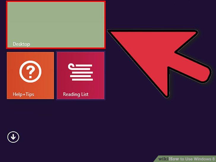 Klicken Sie auf die Desktop-Kachel, um zur Desktopansicht zu wechseln.