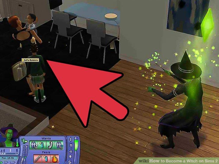 """Wenn die Hexe erscheint, klicken Sie bei gedrückter Umschalttaste auf sie und drücken Sie """"MAKE SELECTABLE"""". Dann klicken Sie auf Ihren Sim (nicht auf die Umschalttaste) und gehen Sie zum Zauber."""