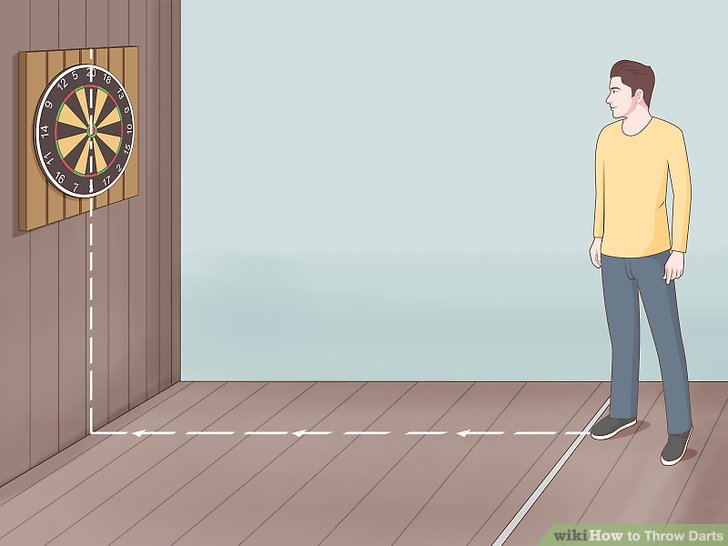 Turn your front foot towards the center of the dartboard.