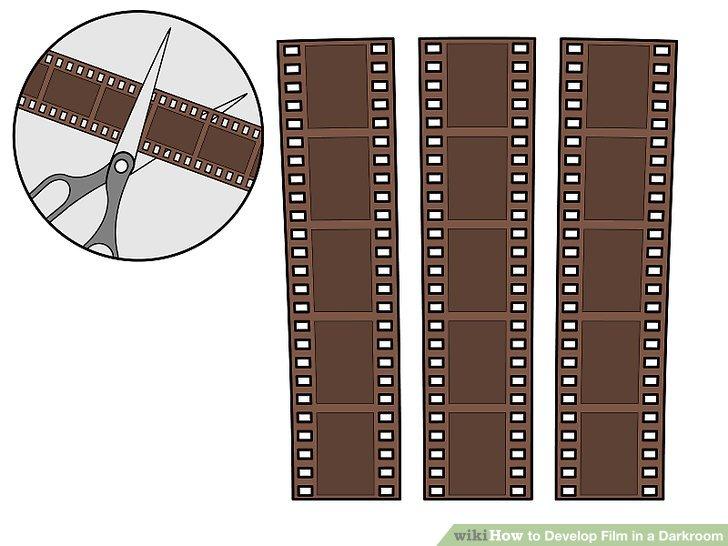 Schneiden Sie Ihren Film in 5 Negativstreifen.