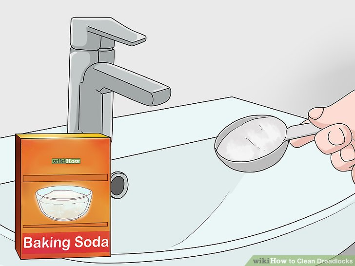In a sink or wash basin, dissolve ¾ cup of baking soda in a few inches of warm water.