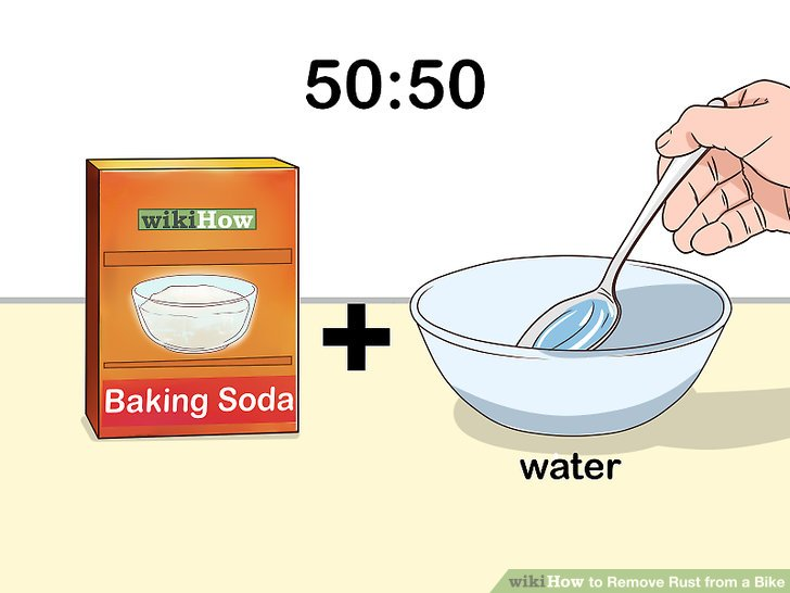 Mix baking soda and water in a bowl.