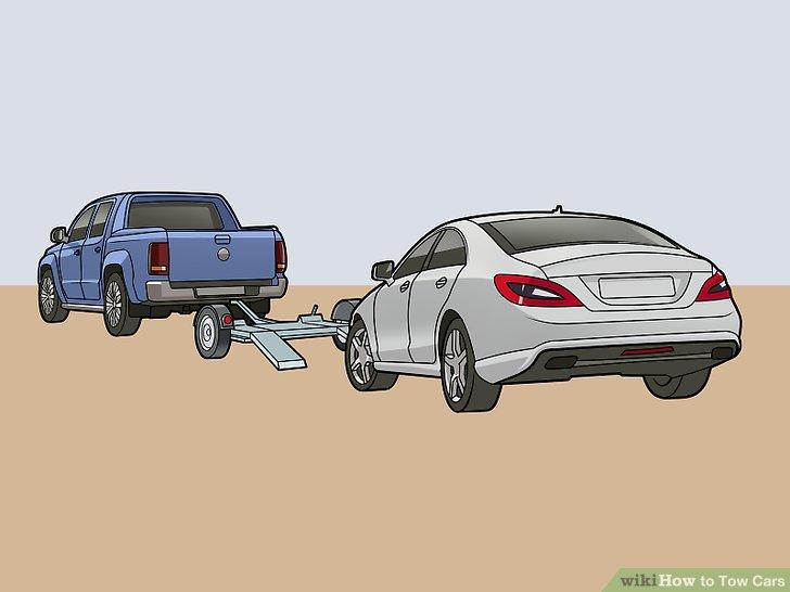 Richten Sie das Zugfahrzeug, den Transportwagen und das kaputte Fahrzeug auf ebenem Boden aus.