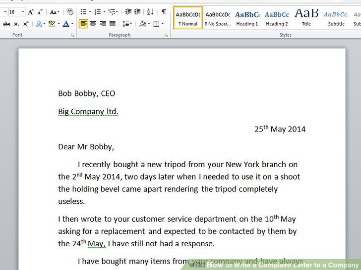 How To Write A Complaint Letter To A Company With Sample