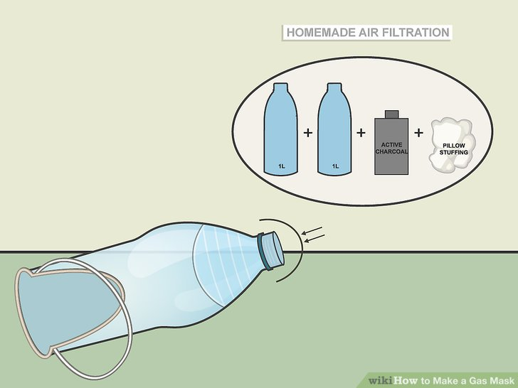 Attach a homemade air filtration system to your mask to protect from some gases.