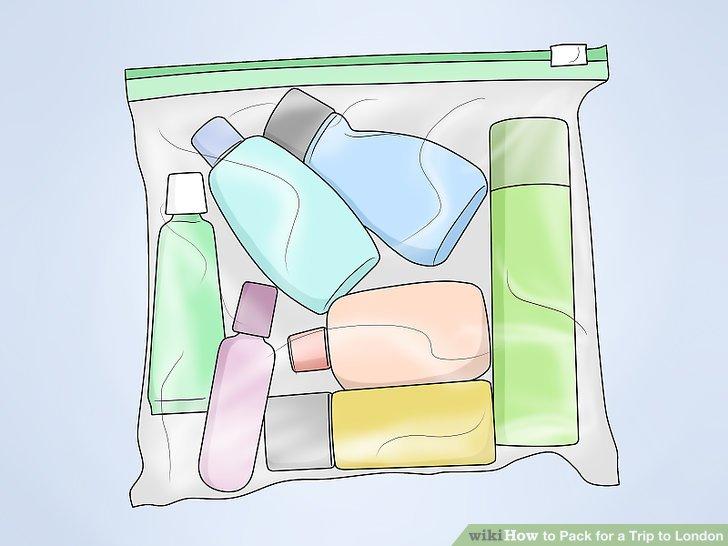 Verwenden Sie Plastiktüten für Toilettenartikel.