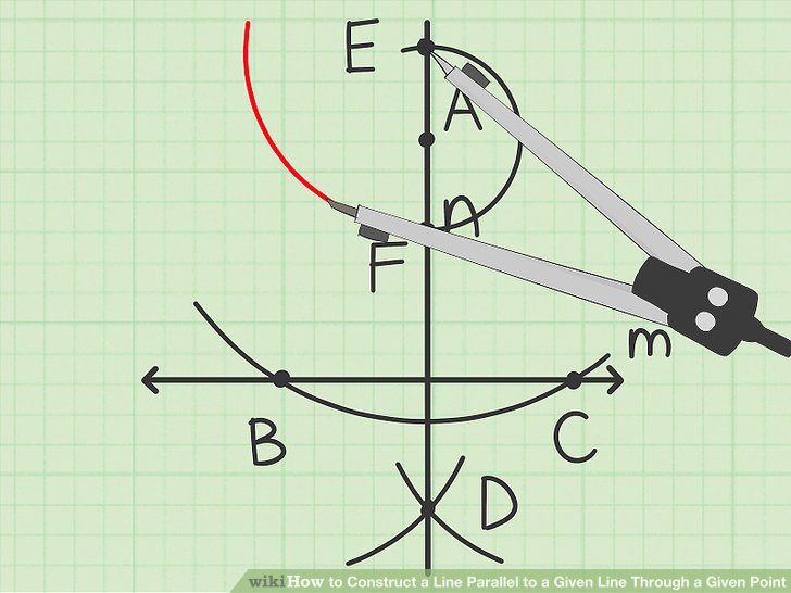 Draw a small arc opposite the given point.