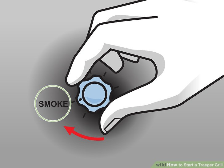 "Turn the temperature dial to the ""Smoke"" option."
