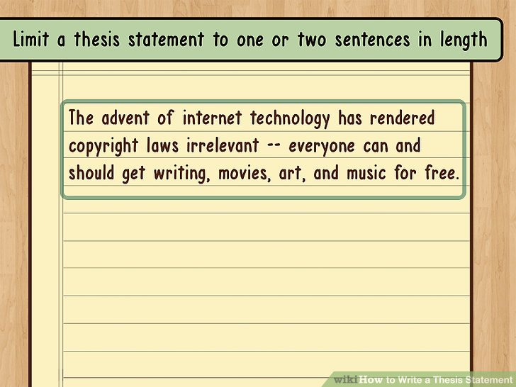 Limit a thesis statement to one or two sentences in length.