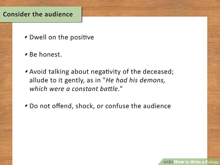 Consider the audience.