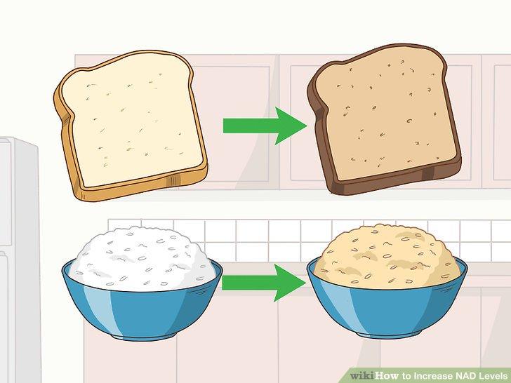Tüm tahıl meslektaşları için beyaz unları, ekmeği ve pirinci değiştirin.