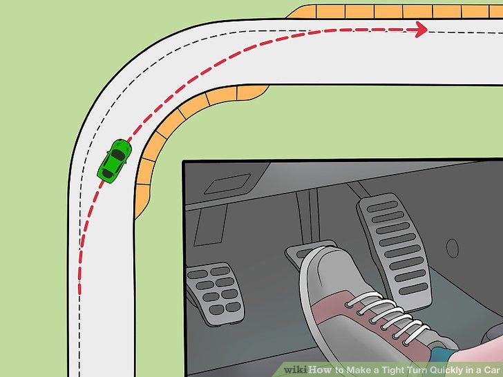 Tippen Sie auf die Bremsen und fahren Sie langsamer, wenn Sie sich der Kurve nähern.