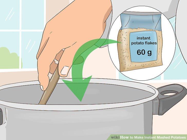 Rühren Sie die Instant-Kartoffelflocken ein und lassen Sie sie 30 Sekunden lang stehen.