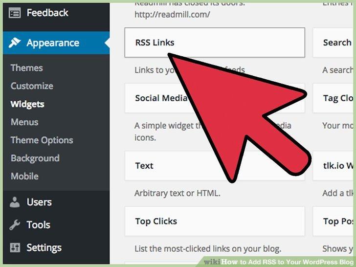 "Find the ""RSS Links"" WordPress widget from the list of widgets."