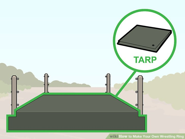 Lay a tarp over the floor and fasten it to the sides of the frame.
