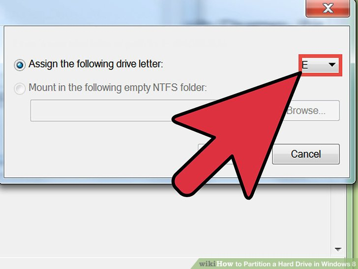 Assign a drive letter to the new partition.