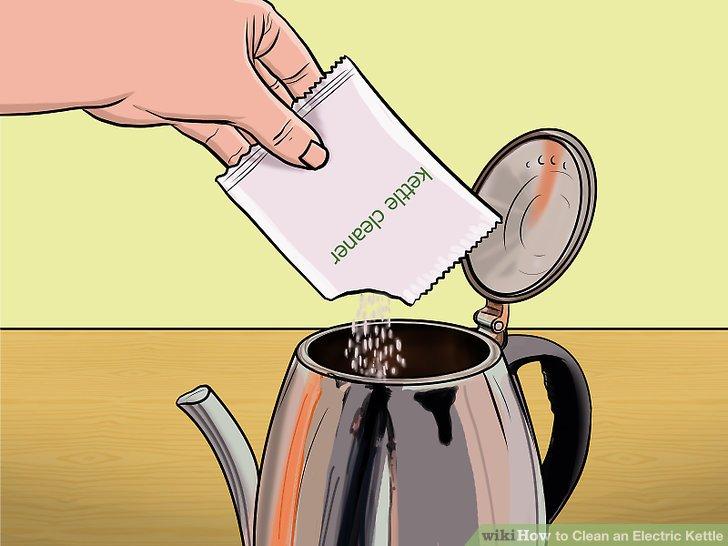 Verwenden Sie ein handelsübliches Reinigungsmittel für den Wasserkocher.