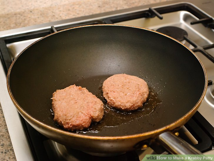 Lay the Krabby patties on a grill or frying pan.