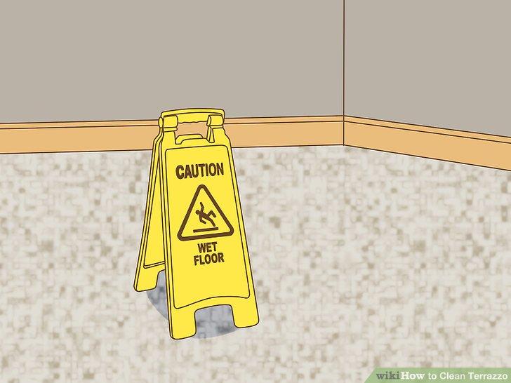 Stellen Sie ein Schild auf, das die Leute warnt, dass der Boden nass ist.