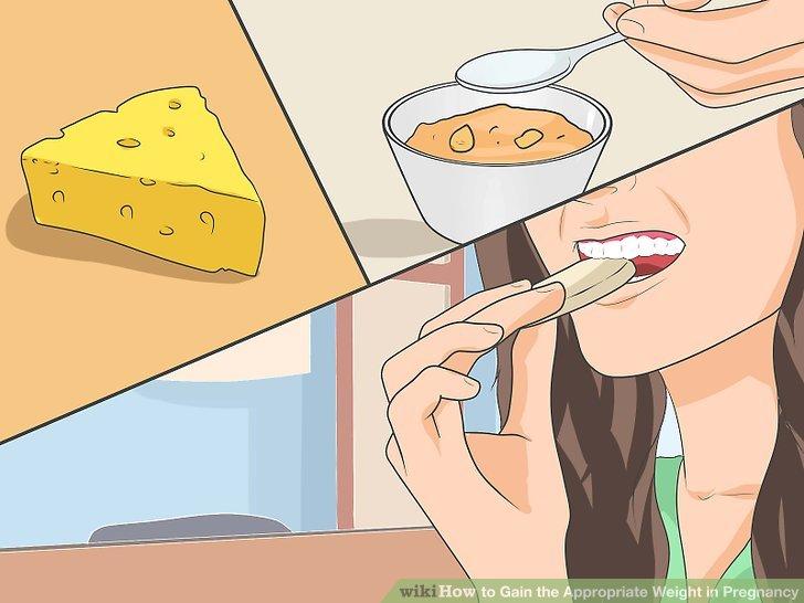 Wählen Sie Vollfettkäse und Cracker, Eis und Joghurt, Trockenfrüchte oder Nüsse für schnelle Snacks, damit Sie während der Schwangerschaft an Gewicht zunehmen können.