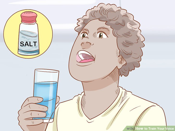 Sip water or gargle salt water to clear your throat.