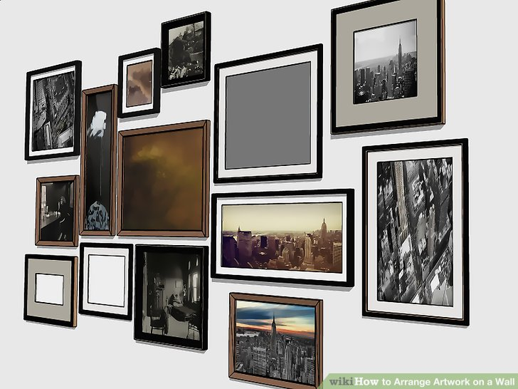 How to Arrange Artwork on a Wall with Pictures  wikiHow