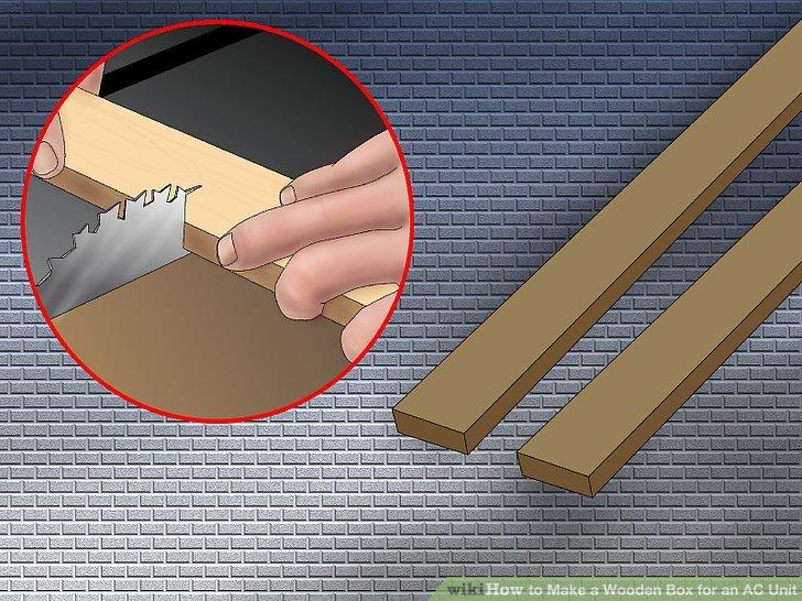 Schneiden Sie zwei Holzstücke ab, um die Schachtel gegen das Kunststoffteil in der Unterseite der Fensterbank zu fangen.