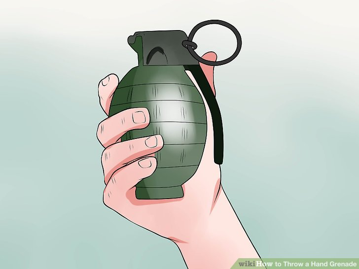 Grab your grenade in your throwing hand.