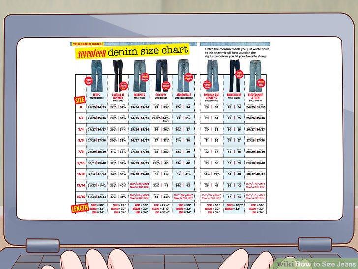 Wählen Sie eine geeignete Jeansgröße aus, indem Sie Ihre Messungen mit einem Diagramm vergleichen.