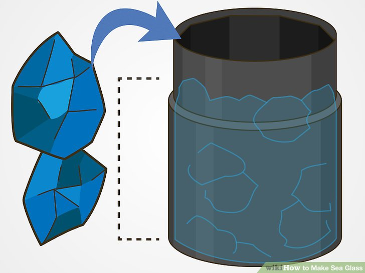 Fill the barrel of the tumbler ⅔ of the way full with glass pieces.