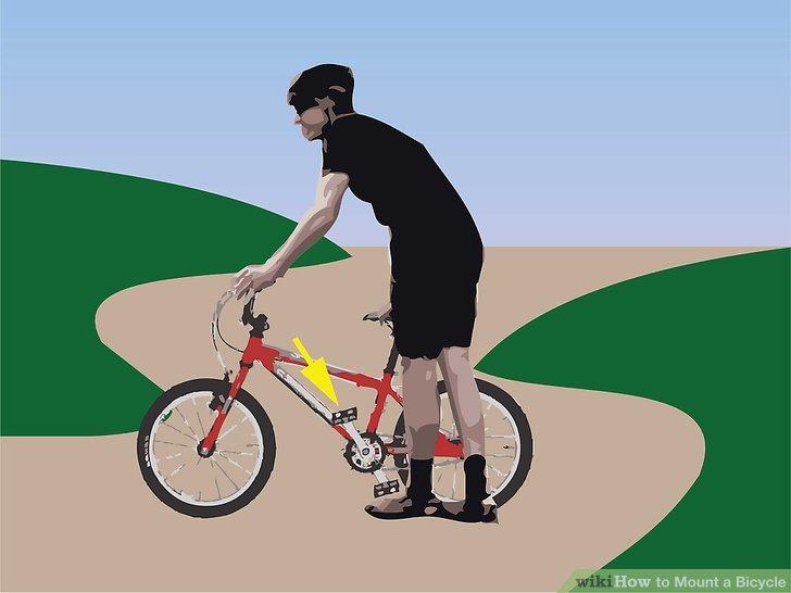 Beginnen Sie mit dem linken Pedal um zehn Uhr und stellen Sie sich auf die linke Seite des Fahrrads, wobei Sie den Lenker halten.