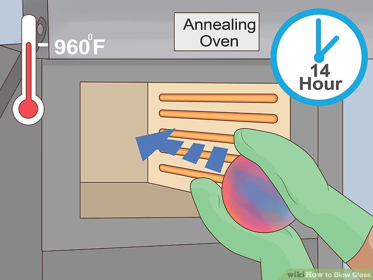 Transfer the blown glass to an annealing oven.