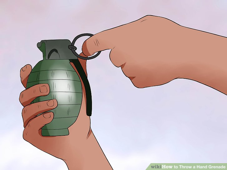 Pull the pin with your non-throwing hand.