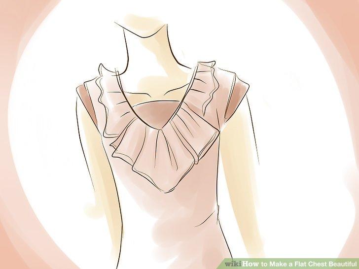 Versuchen Sie es mit einer Bluse oder einem Kleid mit Volants oder Falten, vor allem solchen, die den Ausschnitt zuschneiden.