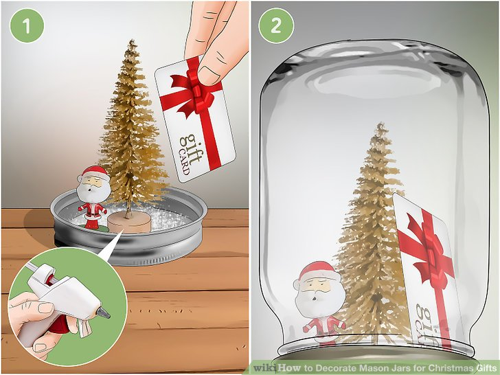 Make a waterless snow globe, then tuck a gift card into it.