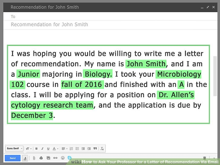 how to ask professor for recommendation letter email