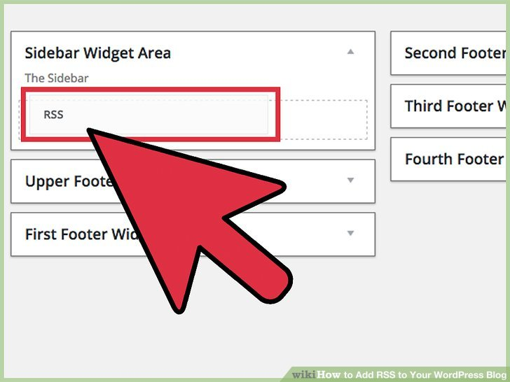 """Click and slowly drag the RSS box to the """"Sidebar"""" box on the upper right hand side of the page."""