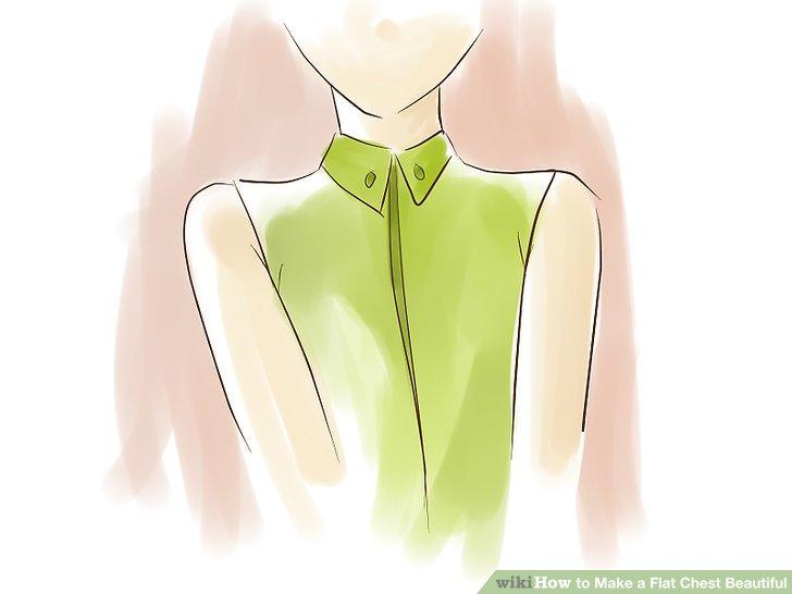 Betrachten Sie hohe Halsbänder, interessante asymmetrische Hälse und Rundhalsausschnitte, damit Ihre Brust besser aussieht.