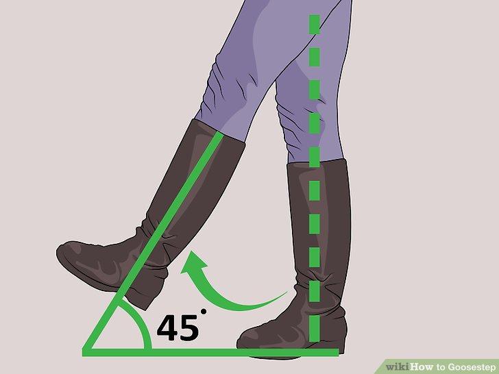 Treten Sie Ihren linken Fuß hoch, ohne das Knie zu beugen.