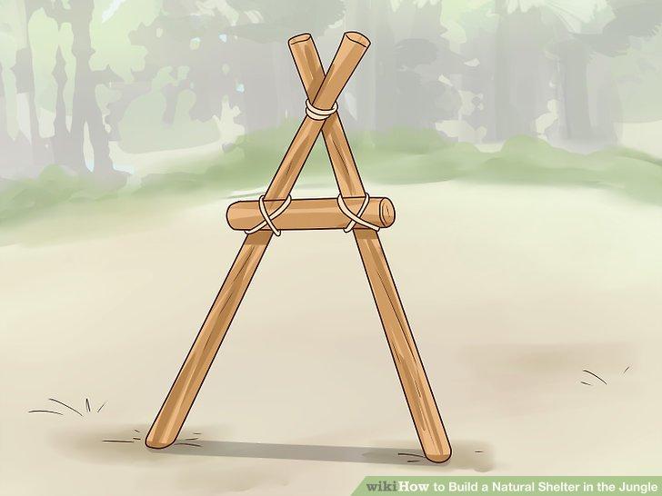 Richten Sie zwei stabile Äste ein, um eine A-Form zu bilden.