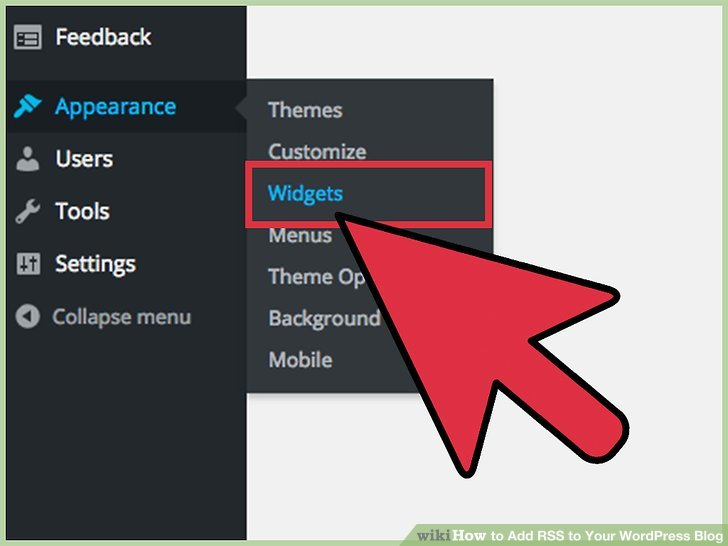 """Click on """"Widgets"""" again in the appearance menu."""